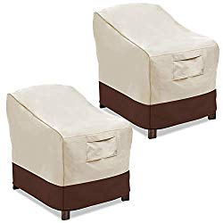 Vailge Patio Chair Covers, Lounge Deep Seat Cover, Heavy Duty and Waterproof Outdoor Lawn Patio Furniture Covers (2 Pack – Large, Beige & Brown)
