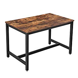 VASAGLE ALINRU Dining Table for 4 People, Kitchen Table, 47.2 x 29.5 x 29.5 Inches, Heavy Duty Metal Frame, Industrial Style, for Living Room, Dining Room, Rustic Brown UKDT75X