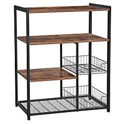 VASAGLE ALINRU Kitchen Baker's Rack, Industrial Kitchen Shelf with 2 Mesh Baskets and 6 Hooks, Microwave Oven Stand, Rustic Brown UKKS96X