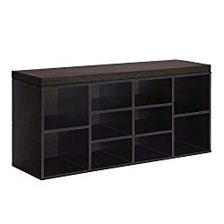 VASAGLE Cubbie Shoe Cabinet Storage Bench with Cushion, Adjustable Shelves, Holds up to 440lb, Ebony, ULHS10BR