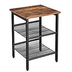 VASAGLE Industrial End Table, Nightstand with 2 Adjustable Mesh Shelves, Side Table for Living Room, Stable Metal Frame, Easy Assembly, Rustic Brown ULET23X
