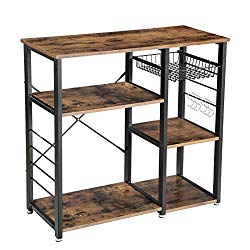 VASAGLE Industrial Kitchen Baker's Rack, Coffee Bar, Microwave Oven Stand Metal Frame, Wire Basket 6 Hooks Mini Oven, Spices Utensils, Simple Assembly Wood Look UKKS90X