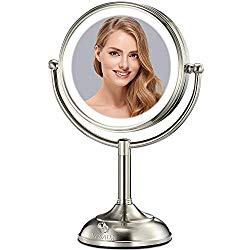VESAUR Professional 10″ [Large Tall Size] Lighted Makeup Mirror, 5X 2-Sided Magnifying Vanity Mirror with 48 Medical LED Lights, Senior Pearl Nickel Cosmetic Mirror, Brightness Adjustable (0-1100Lux)