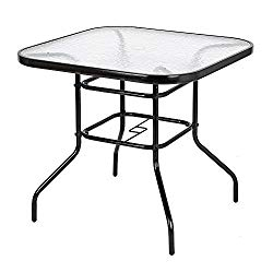 VINGLI Outdoor Dining Table, 32″ Square Patio Bistro Tempered Glass Table Top with Umbrella Hole, Outside Banquet Furniture for Garden Pool Side Deck Lawn