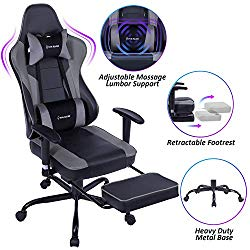 VON RACER Massage Gaming Chair – High Back Racing PC Computer Desk Office Chair Swivel Ergonomic Executive Leather Chair with Footrest and Adjustable Armrests, Gray/Black