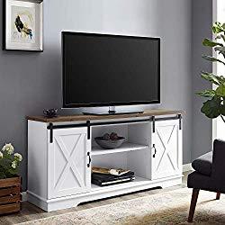 Walker Edison WE Furniture TV Stand 58″ White/Rustic Oak, White/Reclaimed Barnwood