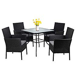 Walsunny 5-Piece Indoor Outdoor Wicker Dining Set Furniture,Square Tempered Glass Top Table with Umbrella Hole,4 Chairs-Black