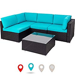 Walsunny Outdoor Black Rattan Sectional Sofa- Patio Wicker Furniture Set Conversation Sets with Tea Table&Washable Couch Cushions (Blue)