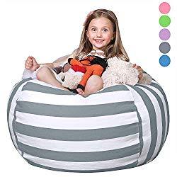 WEKAPO Stuffed Animal Storage Bean Bag Chair Cover for Kids | Stuffable Zipper Beanbag for Organizing Children Plush Toys | 38″ Extra Large Premium Cotton Canvas