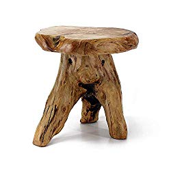 WELLAND Tree Stump Stool Live Edge, Natural Edge Side Table, Plant Stand, Nightstand, Mushroom Stool 14″ Tall