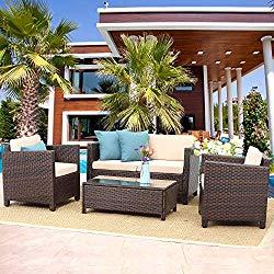 Wisteria Lane Outdoor Patio Furniture Set,5 Piece Conversation Set Wicker Sectional Sofa Loveseat Chair Brown Wicker