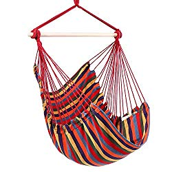 Y- STOP Hammock Chair Hanging Rope Swing – Max 330 Lbs – Quality Cotton Weave for Superior Comfort & Durability (Red Stripe)