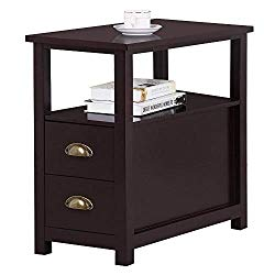 Yaheetech Chairside End Table with 2 Drawer and Shelf Narrow Nightstand for Living Room, Espresso, Rustic