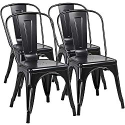 Yaheetech Iron Metal Dining Chairs Stackable Side Chairs Tolix Bar Chairs with Back Indoor/Outdoor Classic/Chic/Industrial/Vintage Bistro Café Trattoria Kitchen Restaurant Patio Black, Set of 4