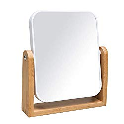 YEAKE Vanity Makeup Mirror with Natural Bamboo Stand,8 Inch 1X/3X Magnification Double Sided 360 Degree Swivel Magnifying Mirror,Portable Table Desk Countertop Mirror Bathroom Shaving Make Up Mirror