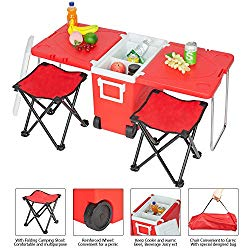 YJ Ship from USA Outdoor Picnic Foldable Multi-Function Rolling Cooler Upgraded Stool Red