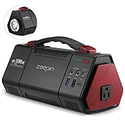 ZEEPIN Portable Power Station Generators, 155Wh 42000mAh Backup Lithium Battery Pack Solar Power Supply Generator with 100W(Peak 150W) AC Outlet, 10W LED Flashlight for Power outages Emergency Outdoor