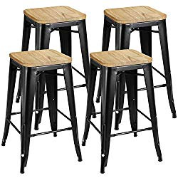 ZENY Set of 4 Metal Bar Stools 26″ Counter Height with Wooden Seat Stackable Indoor/Outdoor Barstools, 330 lbs Capacity