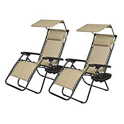 Zero Gravity Chairs 2 Set Lounge Patio Chairs with canopy Cup Holder